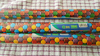 2 x Rolls old Decorative Self Adhesive Film 2 mtrs x45cm smarties