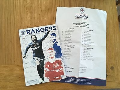 RANGERS v DUNDEE 19.11.2016 AND TEAMSHEET