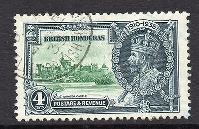 British Honduras 4 Cent Silver Jubilee Stamp c1935 Used