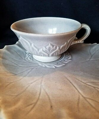 VINTAGE WOODFIELD STONE GREY SNACK LEAF PLATE & CUP SET by Steubenville