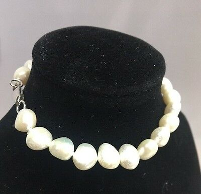 STUNNING and genuine baroque Freshwater Pearl Sterling Silver Bracelet 925