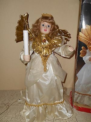 SANTA'S BEST Animated Motionette Christmas Noel Angel With Wings Lighted Candle