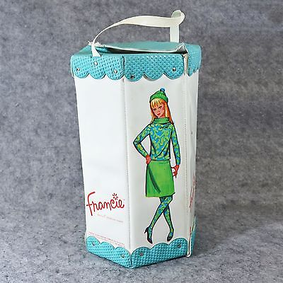 Vtg Francie 1965 Hexagon Blue White Barbie Carrying Case / Doll Case w/ Clothing