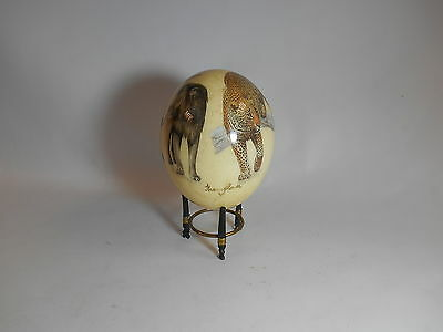 Vintage Sherry Rowe Wildlife Decoupage Laquered Ostrich Egg with Stand