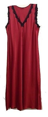M&S Marks and Spencer Red Satin Nightdress 6637 Lace Trim Full Length 14-16