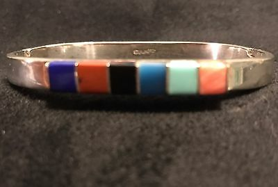 Mexico 925 Sterling Silver Hinged Cuff Bracelet W/ Inlaid Stones 31g