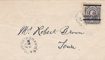 Newfoundland 1897 Bonavista Drop Letter With Type II 1c on 3c Provisional
