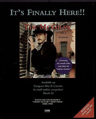 """1994 TIM McGRAW """"NOT A MOMENT TO SOON"""" ALBUM PROMO AD"""
