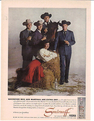 1960 Where Men And Martini's Are Extra Dry Smirnoff Ad