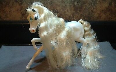Reeves Breyer Ponies Horse Pearl White With Mane Tail Blue Star