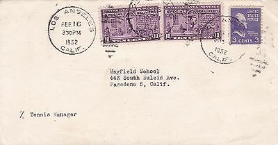 USA 1952 Express Letter Cover Los Angeles to Tennis Manager Pasadena School