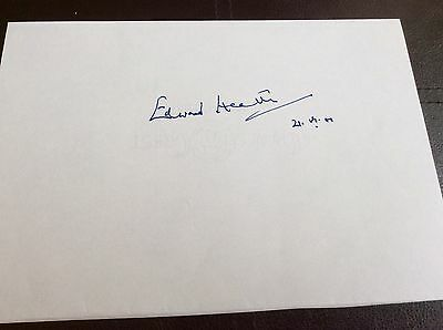 """Edward Heath Hand Signed Autograph On A 8"""" x 6"""" White Paper"""