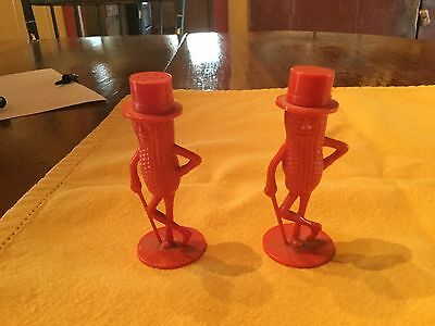 Vintage Mr. Peanut Salt and Pepper Shakers Plastic Red