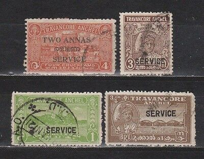 India / Travancore Anchel - 4 Old Stamps