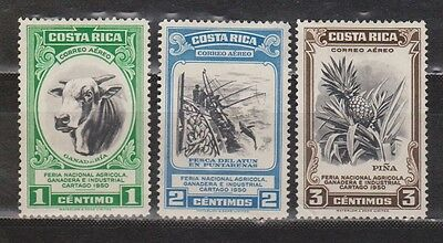 Costa Rica - 1950 - Airmail - 3 Stamps Mng (All With Back Thins) - 2 Scans