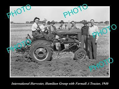 OLD HISTORIC PHOTO OF INTERNATIONAL HARVESTER FARMALL A TRACTOR IN FIELD c1940