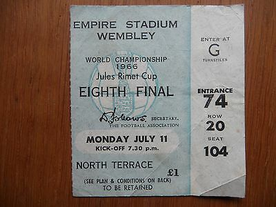 Original 1966 World Cup Ticket ENGLAND v URUGUAY Wembley Seated North Terrace