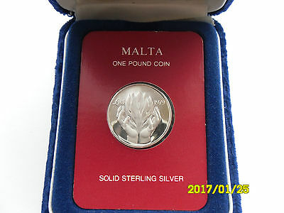Malta - Solid Sterling Silver One Pound 1979