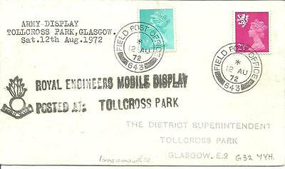 "COVER ARMY DISPLAY Royal Eng. FIELD POST OFFICE ""643"" TOLLCROSS PARK GLASGOW"