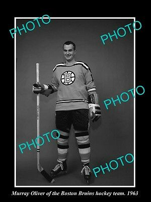 Old Large Historic Photo Of Boston Bruins Nhl Hockey Great Murray Oliver 1963