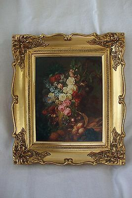Reproduction Antique Style Oilograph Painting Floral Scene Gilt Decorative Frame