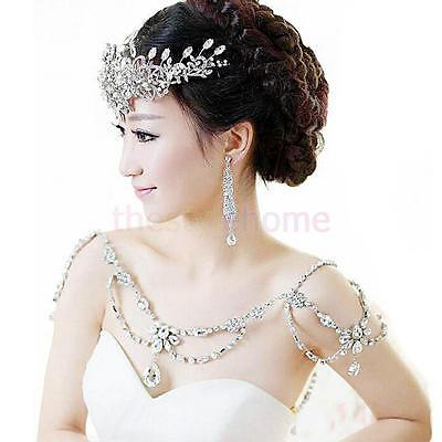 Bride Wedding Bridal Jewelry Sets Crystal Necklace Shoulder Chain + Earrings