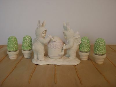 """Dept. 56 Snowbunnies, 2 Sets: """"Shrubs-in-aTub"""" and """"I'll Paint the Top"""""""