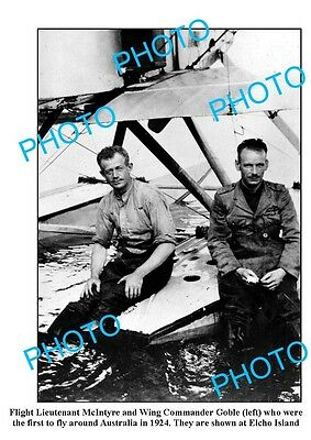 OLD LARGE PHOTO, 1st TO FLY AROUND AUSTRALIA, McINTYRE & GOBLE 1924 ELCHO ISLAND