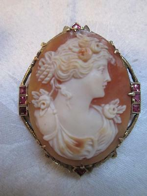Antique Carved Shell Cameo Pendant Brooch 14K GOLD with Jewels Italian ? signed