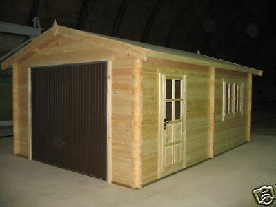 Log Cabin Double Wooden GARAGE, WORKSHOP, Storage, 4x6m