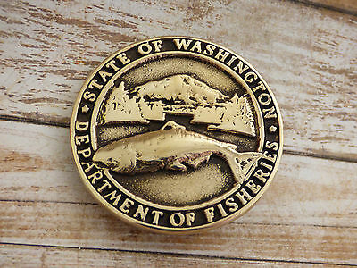 Washington Department of Fisheries Solid Brass Vintage 1981 Belt Buckle