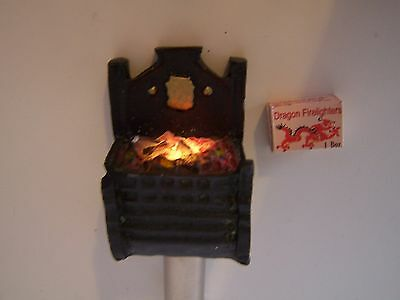 Dolls House, Fire Grate, Brown, Cast, Vintage, E