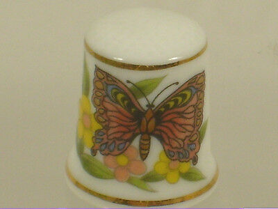 Collectible Butterfly Porcelain Thimble Fritillary Comma