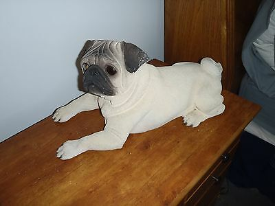 Large Fawn Pug Statue, Life Like by K-9 Kreations 1998