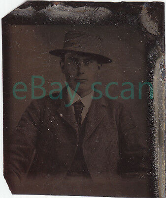 ANTIQUE TINTYPE #53 Handsome Young Man Vintage Ferrotype Gay Interest Formal
