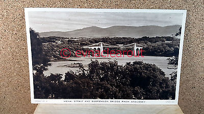 Menai Strait and Suspension Bridge from Anglesey Postcard