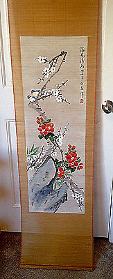 Japanese Hand Painted Scroll on Matchstick Bamboo Birds, Ume Tree Red Flowers
