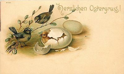 Easter~Birds Perch~Pussy Willow Branches~Watch Chick Hatch~Egg~Gold~Germany~1903