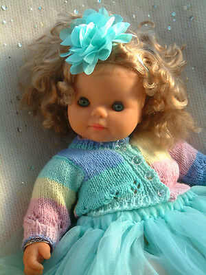 """Vintage 21"""" toddler doll - ADORABLE - curly hair - 2 NEW outfits - own bracelets"""