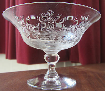 Antique/Edwardian Etched Crystal Sherbet/Champagne/Dessert Glass - Pall Mall?
