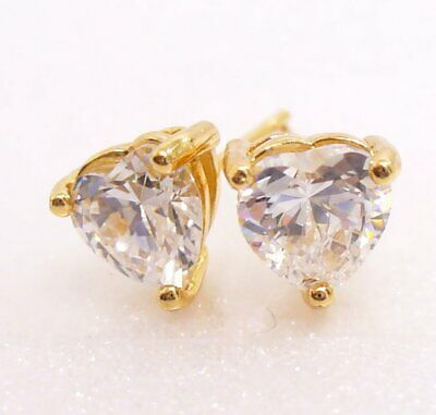 Girl Lady Simulated Diamond Small 5mm Heart Stud Earrings 18K Yellow Gold Plated