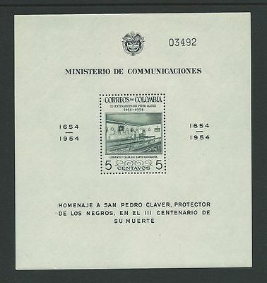 **1954 Colombia San Pedro Claver Minisheet SG MS818 MNH High Cat**