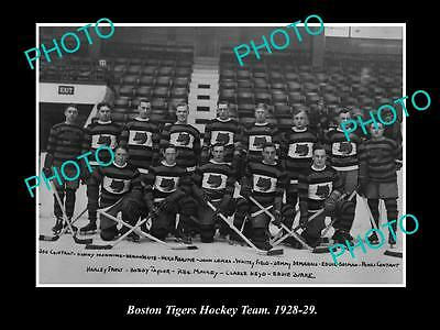 Old Large Historic Photo Of The Boston Tigers Ice Hockey Team 1928