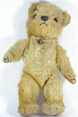Superb ANTIQUE 1920s GOLD Mohair No Button STEIFF Toy Jointed TEDDY BEAR w/BELL