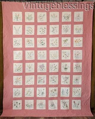Beautiful Embroidery! VINTAGE 30-40s 48 State Flowers QUILT 93x72""