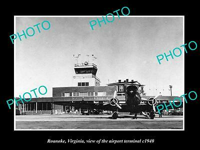 OLD LARGE HISTORIC PHOTO OF ROANOKE VIRGINIA, THE AIRPORT TERMINAL c1940