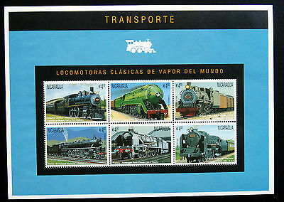 Trains, Railway Selection From Nicaragua, Four Unmounted Mint Sheets.