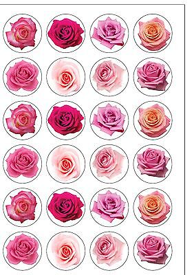 24 PRECUT Pink Roses Rose Flower Themed Edible Wafer Paper Cupcake Cake Toppers