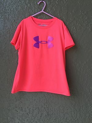 Youth Under Armour large Loose Heat Gear Shirt sleeve Coral Purple Logo
