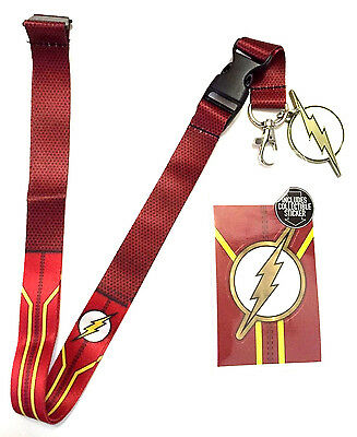 Dc Comics The Flash Suit Up Costume Lanyard Badge Id Holder Keychain Sticker Nwt